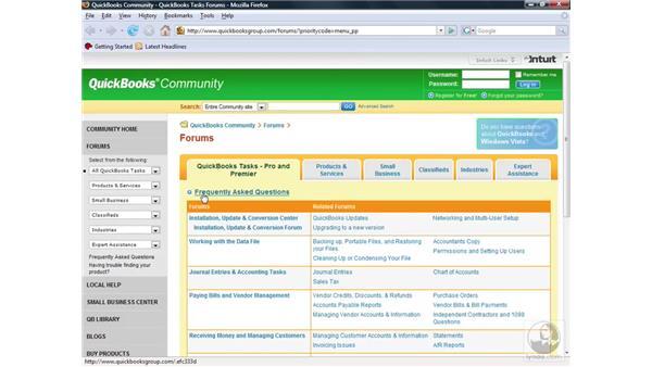 Using additional resources: QuickBooks Pro 2008 Essential Training