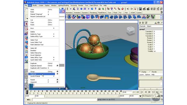 Grouping objects: Maya 2008 Essential Training
