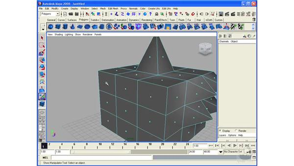 Using the Poke and Wedge Faces tools: Maya 2008 Essential Training