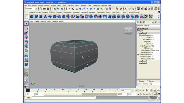 Understanding the Polygon Bevel tool: Maya 2008 Essential Training