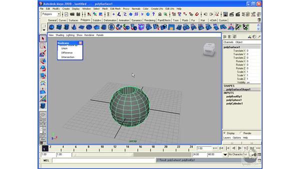 Understanding Polygon Booleans: Maya 2008 Essential Training