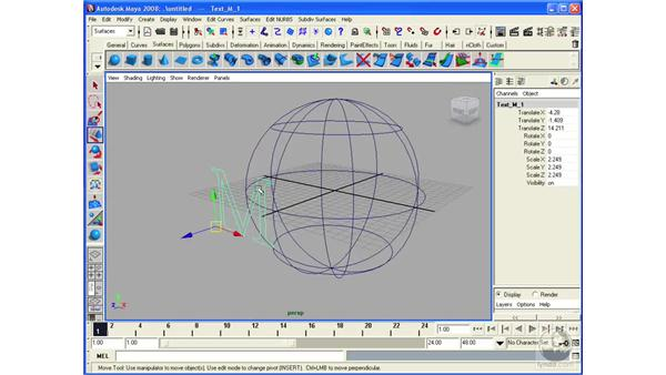 Projecting curves on a surface: Maya 2008 Essential Training