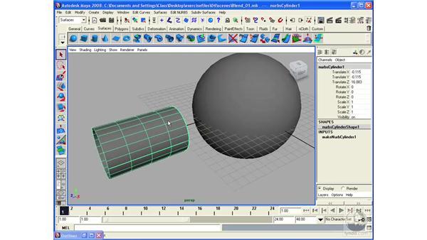 Using NURBS Fillet tool: Maya 2008 Essential Training