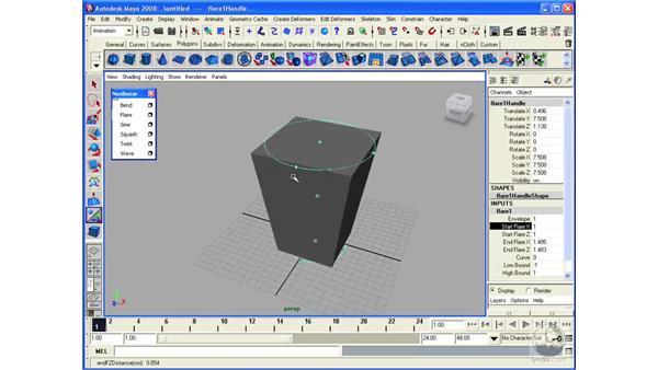 Modeling with nonlinear deformers: Maya 2008 Essential Training