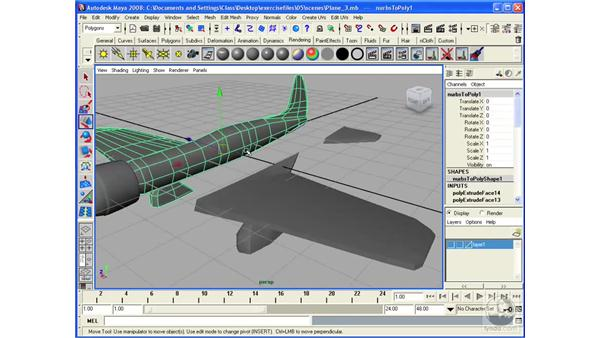 Modeling an airplane: mirroring the wings: Maya 2008 Essential Training