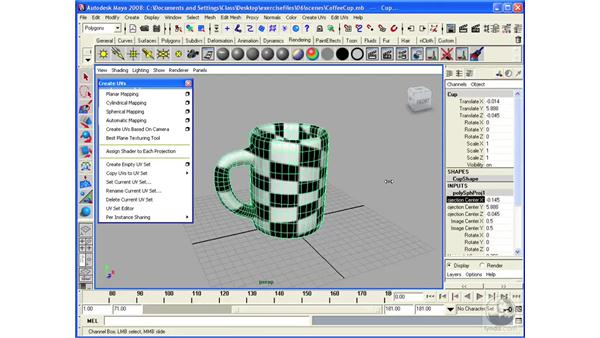 Performing texture mapping on polygonal surfaces: Maya 2008 Essential Training