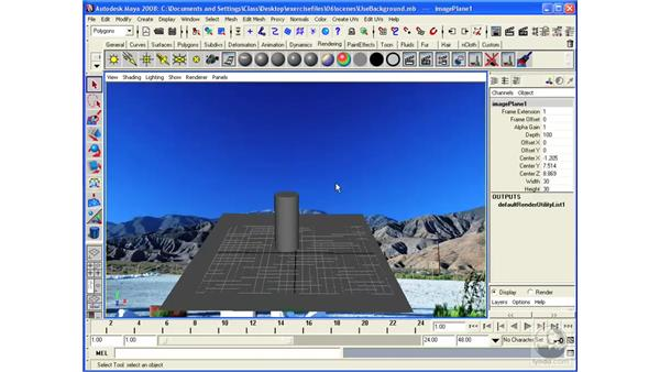 Performing live-action integration with the Use Background shader: Maya 2008 Essential Training