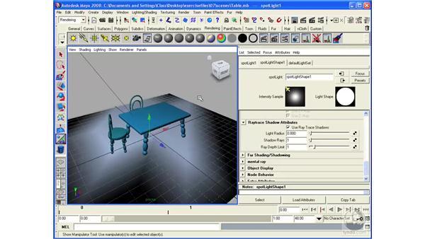 Using raytrace shadows: Maya 2008 Essential Training