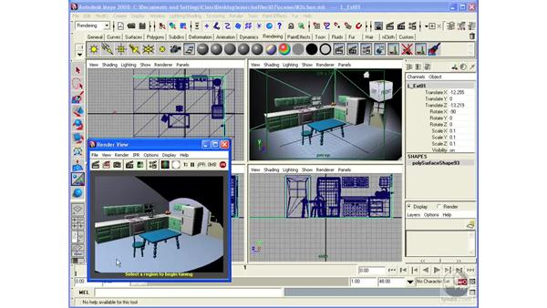 Using interactive rendering with IPR: Maya 2008 Essential Training