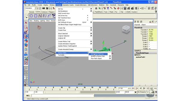 Animating objects along paths: Maya 2008 Essential Training