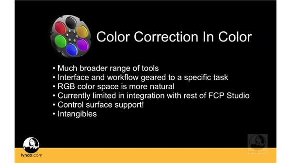 Deciding whether to color correct with Color or Final Cut Pro: Apple Color Essential Training