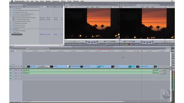 Preparing a Final Cut Pro sequence for Color: Apple Color Essential Training