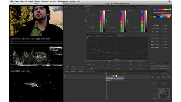 Adjusting the luma of a specific color: Apple Color Essential Training