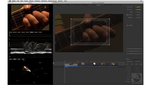 Using Pan and Scan to frame for 4x3 output: Apple Color Essential Training