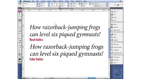 Using italics: InDesign CS3 Professional Typography