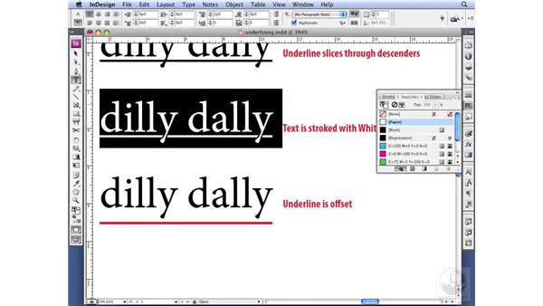 Underlining type: InDesign CS3 Professional Typography
