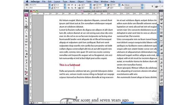 Doing a baseline shift: InDesign CS3 Professional Typography