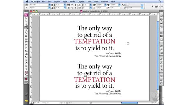 Using Optical leading: InDesign CS3 Professional Typography