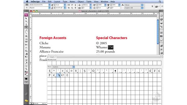 Using the Glyphs palette: InDesign CS3 Professional Typography