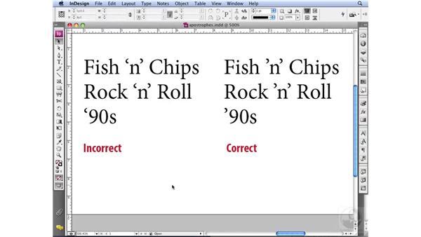 Using apostrophes: InDesign CS3 Professional Typography