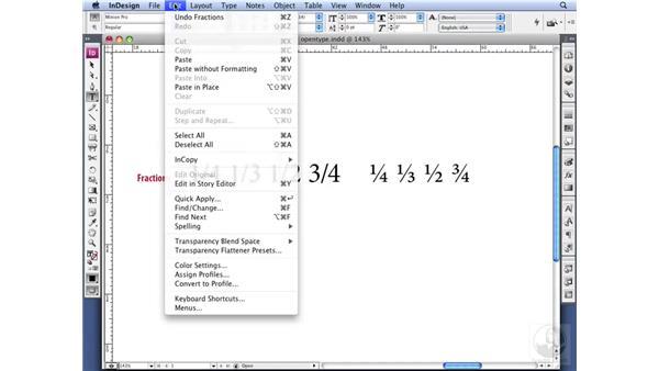 Understanding fractions: InDesign CS3 Professional Typography