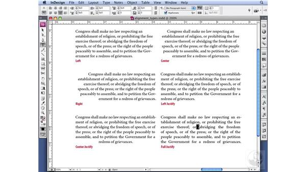 Aligning your type: InDesign CS3 Professional Typography