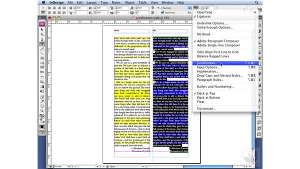 Setting Justification options: InDesign CS3 Professional Typography