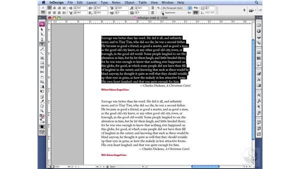 Setting left alignment: InDesign CS3 Professional Typography