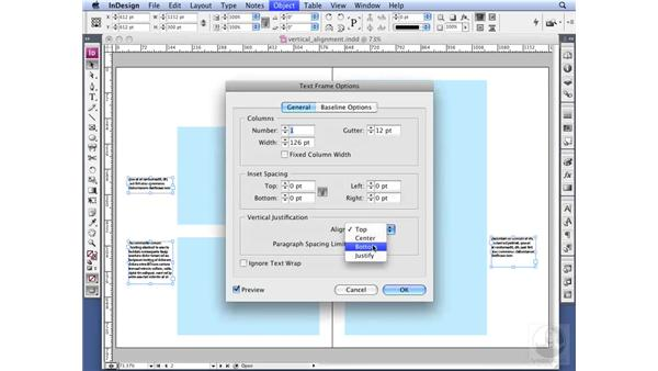Setting vertical alignment: InDesign CS3 Professional Typography
