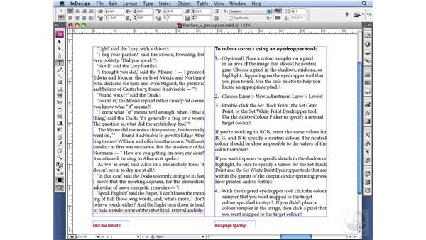 Using first-line indents: InDesign CS3 Professional Typography