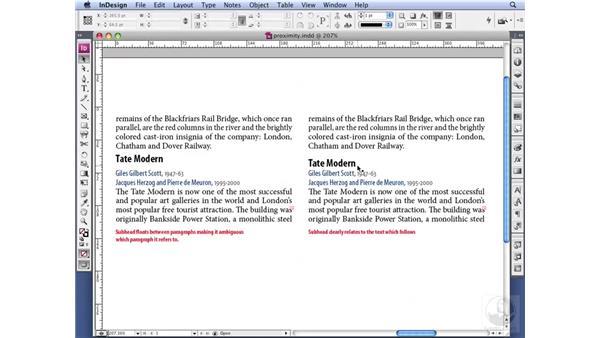 Establishing visual relationships: InDesign CS3 Professional Typography