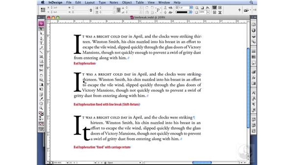 Using line breaks: InDesign CS3 Professional Typography