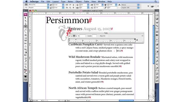 Using tab leaders in a TOC: InDesign CS3 Professional Typography