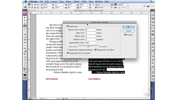 Using the Hyphenation Slider: InDesign CS3 Professional Typography