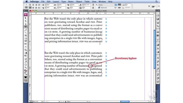 Adding discretionary and non-breaking hyphens: InDesign CS3 Professional Typography