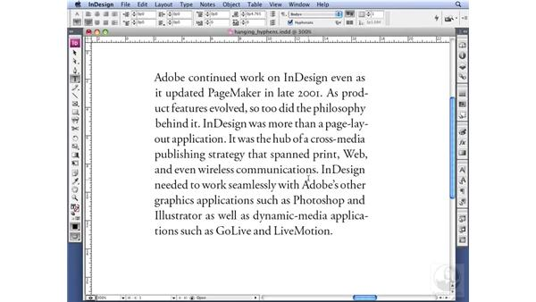Using the Optical hyphen: InDesign CS3 Professional Typography