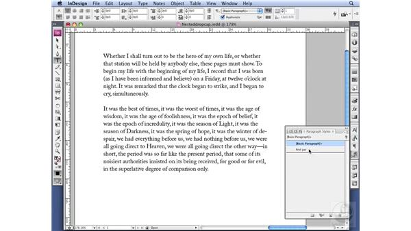 Using a nested character style with a drop cap: InDesign CS3 Professional Typography