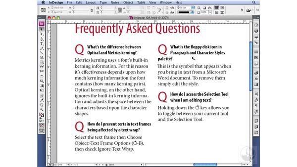 Understanding other uses of drop caps: InDesign CS3 Professional Typography