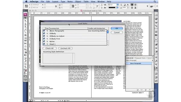 Loading Styles from another document: InDesign CS3 Professional Typography