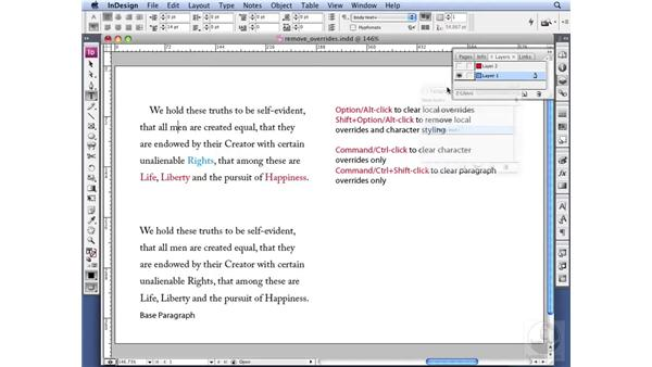 Removing manual overrides: InDesign CS3 Professional Typography