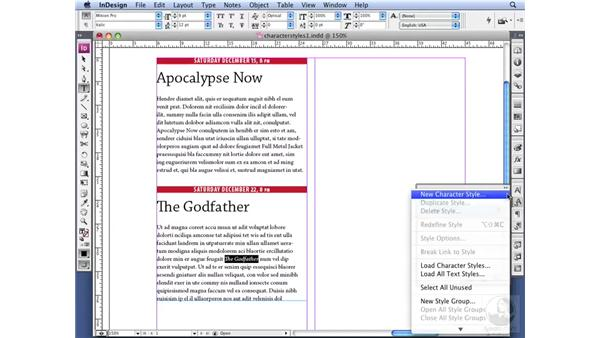 Creating and applying Character Styles: InDesign CS3 Professional Typography