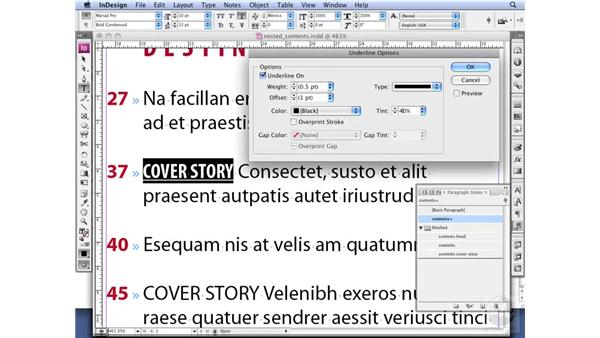 Creating a Contents page: InDesign CS3 Professional Typography