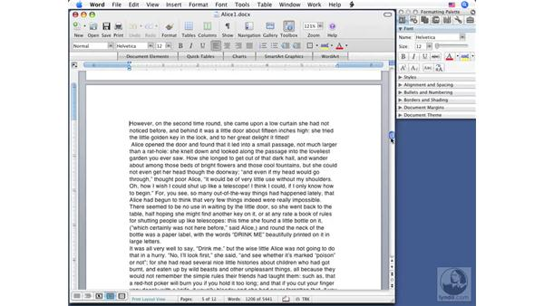 Navigating techniques: Word 2008 for Mac Essential Training