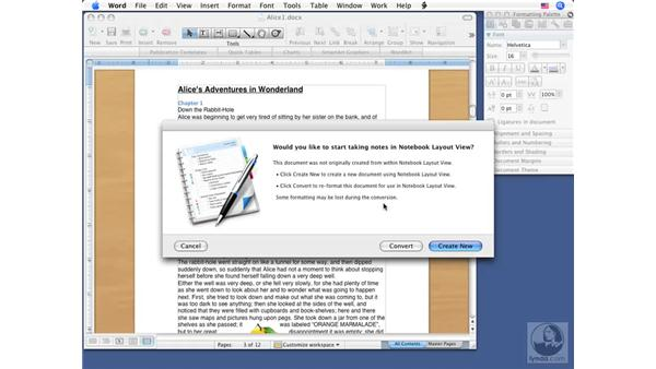 Using the Publishing and Notebook layouts: Word 2008 for Mac Essential Training