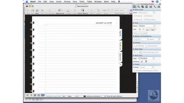 Creating new Notebook documents: Word 2008 for Mac Essential Training