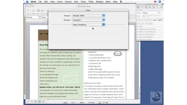 Setting print options and printing: Word 2008 for Mac Essential Training