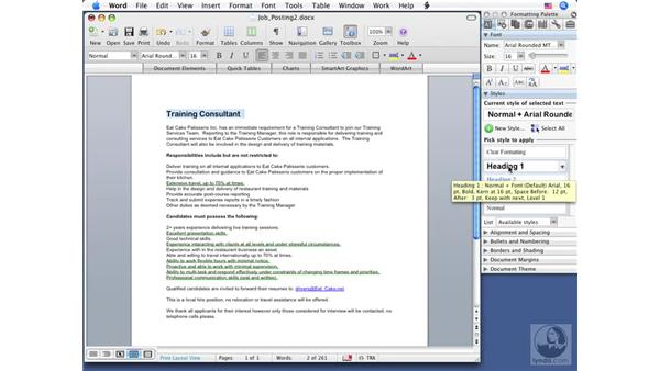 Formatting text: Word 2008 for Mac Essential Training