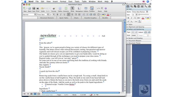 Showing nonprinting characters: Word 2008 for Mac Essential Training