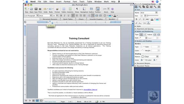 Changing margins: Word 2008 for Mac Essential Training