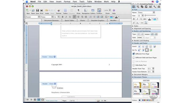 Creating Headers and Footers: Word 2008 for Mac Essential Training